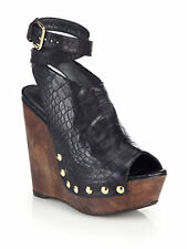 STUART WEITZMAN Croc-Embossed Leather Wedge Sandals
