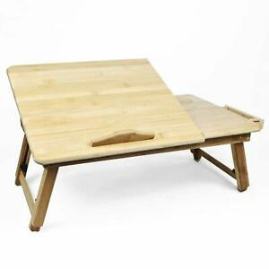Bamboo Laptop Table Stand Computer Notebook Holder Folding Wooden Tray Desk