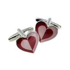 Two Tone Red & Pink Heart Shaped Cufflinks in a Cufflink Box - X2BOCH024