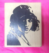 Stamp Francisco retro lady woman in hat art stamps unusual wood mounted faces