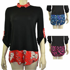 Collared 3/4 Sleeve Casual Floral Tops & Shirts for Women