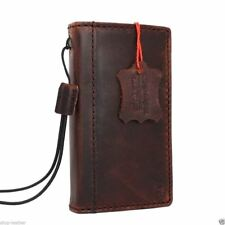 genuine leather case for iphone 4 book wallet cover cards slots brown slim new R