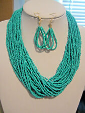 Multi Strand Turquoise Glass Seed Bead Necklace Earring Set