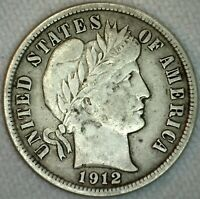 1912 Silver Barber  Dime Ten Cent 10c US Coin XF Extra Fine K3