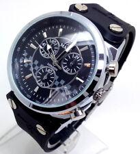 Reloj de pulsera 517K de Lujo para Hombre Caso de Plata Correa Negra Cuadrante con Cronógrafo Grueso Grande