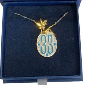 Disneyland Club 33 Logo Necklace with Tinker Bell