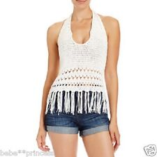 NWT bebe white halter crochet fringe sweater low neck stretchy top sexy S small