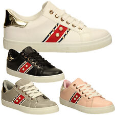 Para Mujeres Niñas Correr Rosa Negro Blanco Con Cordones Planos Zapatillas Zapatos Entrenadores Damas