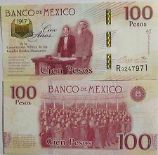 """BILLETE """"  MEXICO """" 100  PESOS """" CONMEMORATIVO  2016 -- 2017   UNC   PLANCHA"""
