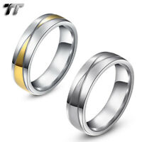 TT 6mm Two-Tone Gold Stainless Steel Wedding Band Ring Size 6-14 (R206) NEW