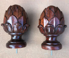 Pair Of Vintage Carved Solid Wood Newel Post Finial Cap Topper Acorn Pine Cone