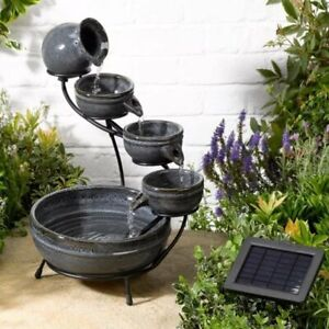 Granite Cascade Solar Powered Patio Garden Water Feature