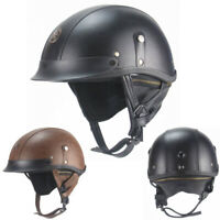 Vintage Motorcycle Half Helmet Skull Cap Scooter Chopper Leather Helmet M/L/XL