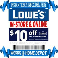 Lowes $10 Off $50 1COUPON-Fast Delivery-InStore/Online ~Good to 11/30☆USE TODAY☆