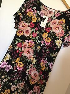 New St Frock Dress Pink Green Yellow Floral Shirtdress Buttoned Front Casual 16