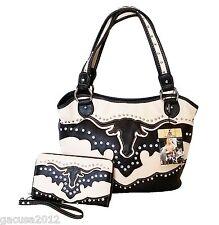 Montana West Long Horn Western Cowgirl American Bling Handbag Matching Wallet