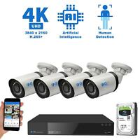 8 Channel 4K NVR 4 X 8MP PoE IP H.265+ AI Smart Starlight Security Camera System