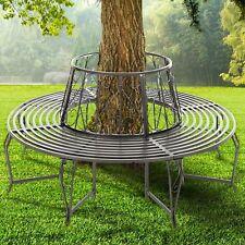 WestWood Outdoor Garden Tree Bench Round Circular Steel Vintage Seat Grey GTB01