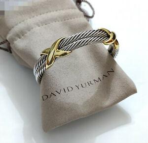 David Yurman Sterling Silver Double Cable 14K Gold X Cuff Bracelet 10mm