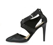 Women's JOES Black Pointed Toe Leather Strappy Zip Up Pumps Slim Heels Size 9 M