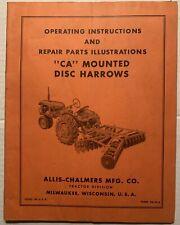 Allis Chalmers Ca Mounted Disc Harrows Operators Manual Owners Manual Tm 73a