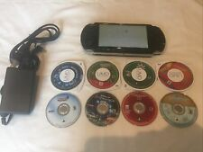 Sony PlayStation Portable PSP 3001 Black Handheld With 8 E Games & Wall Charger