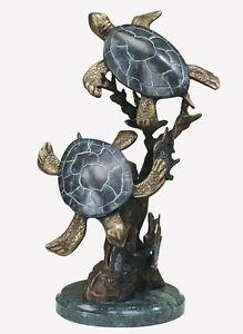 Sea Turtle Duet Brass Sculpture Marble Base Nautical Sealife Statue  ~ 30236 SPI