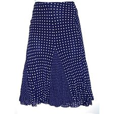 NEW A-line Dark Blue Navy Polka Dot Rayon Flare Out Skirt w Triangle Inserts M