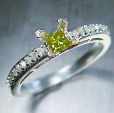 0.20cts Natural Canary Yellow Diamond, princess cut 9ct 375 gold ring