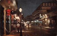 New Orleans Louisiana~Bourbon Street Night Lights~1968 Postcard