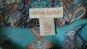 Cynthia Rowley Aqua Multi Abstract 3/4 Sleeve Pullover Blouse Boho Tunic Top 2X