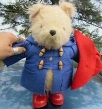 "VINTAGE TEDDY BEAR GABRIELLE 1980 PADDINGTON ENGLAND RED HAT BOOTS BLUE COAT 14"""