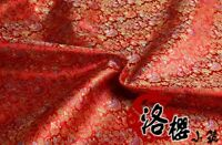 Chinese Satin Floral Fabric Damask Brocade Costume Upholstery Craft Material Red