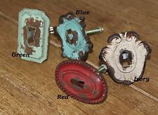 One Green Rusty Metal Furniture Keyhole Knob Pull Home Vintage Reproduction
