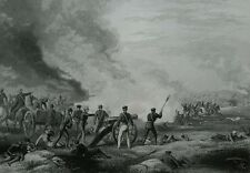 1856 antique engraving Battle of Palo Alto Mexican American War cannon wounded