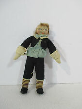 Antique Cloth Doll School Boy Blond Mohair Hair Hand Made Painted Faces Mini