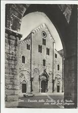 vecchia cartolina di bari facciata basilica di san nicola con auto d' epoca