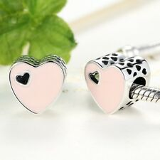 Beautiful S925 Sterling Silver Pink Radiant Heart Charm