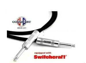 15ft Shielded Instrument Cable Guitar Cord Switchcraft Ends Conquest Sound USA