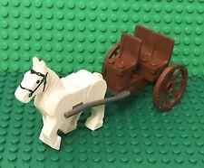 Lego MOC New Mini Figures White Horse Passenger Wheel Drawn Carriage