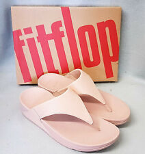 New Fitflop Lulu Shimmer Rose Gold Pink PU Toe Post Ladies Sandals Box Size 6