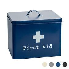 First Aid Box Empty Emergency Medical Survival Kit Storage Case 2 Tier Navy