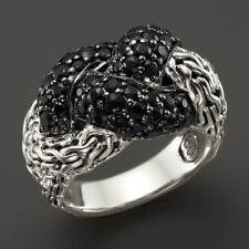 JOHN HARDY Classic Chain Silver Lava Small Braided Ring with Black Sapphire 6