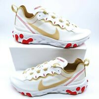 Nike Womens React Element 55 Running Shoes White BQ2728-101 Low Top 10 New