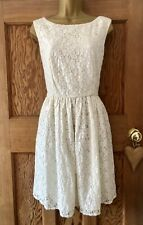 French Connection / FCUK Ivory Skater Dress. Size 12. Floral Lace Look. Glitter.