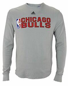 Adidas NBA Men's Chicago Bulls Summer Stack Long Sleeve Thermal Shirt, Grey