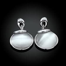 Wholesale 18K White Gold Filled Round Cat's Eye Opal Dangly Earrings Gift