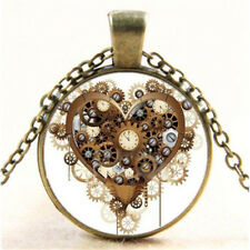 Long Chain Cool Steampunk Heart Photo Cabochon Glass Bronze Pendant Necklace FT