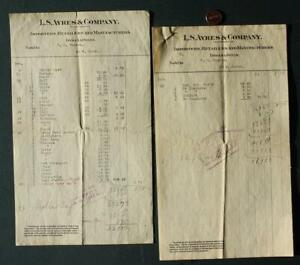 1906 Indianapolis Indiana L.S. Ayres Department Store 3 Page Invoice set-SCARCE!