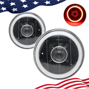 """5"""" 3/4 Inch Round LED Red Halo Black Lens Projector Headlights Angel Eye"""